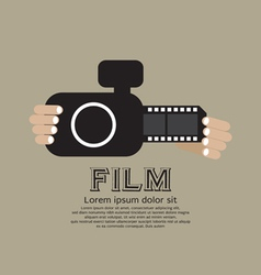 Vintage Camera With Film Strip vector image
