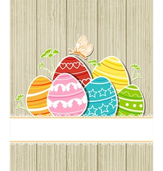 wooden Easter background with eggs vector image vector image