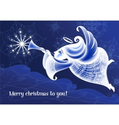 christmas angel flies and plays the trumpet vector image vector image