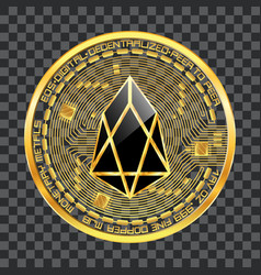 crypto currency eos golden symbol vector image