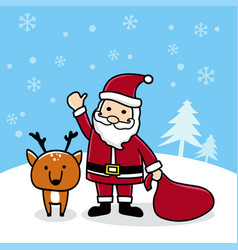 cute cartoon santa with reindeer merry christmas vector image vector image