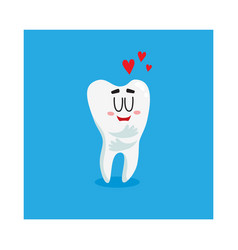 funny shiny white tooth character showing love vector image