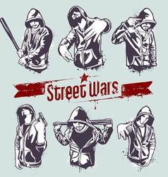 gangster stencils vector image vector image