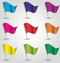 set nine triangle flags different colors vector image vector image