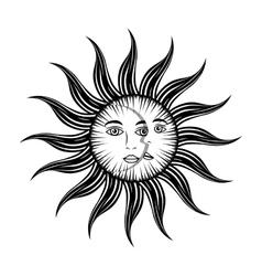 sun moon face mystic vector image