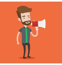 Young hipster man speaking into megaphone vector image