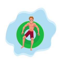 young man on floating inflatable ring resting in vector image vector image