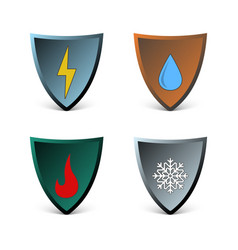 Abstract of shields with types of vector