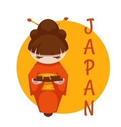 Asian girl with sushi Japan vector