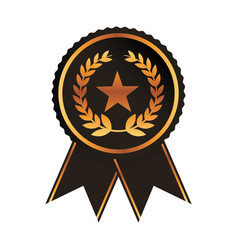 award ribbon gold black medal with star laurel vector image