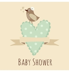 Baby shower invitation birthday card with bird vector image