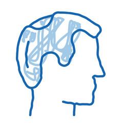 Balding man profile doodle icon hand drawn vector