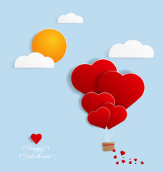 balloon with heart shape flying in sky papercut vector image
