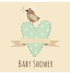 Bashower invitation birthday card with bird vector