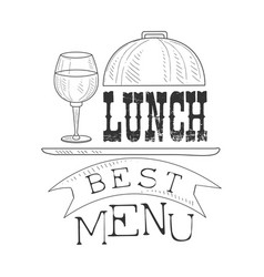 Best cafe lunch menu promo sign in sketch style vector