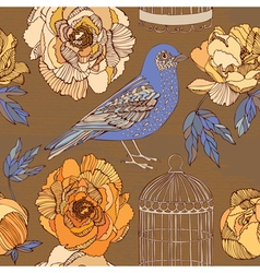 Bird and blooming roses vector image