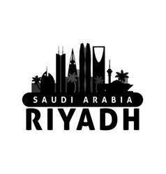 black and white riyadh saudi arabia city skyline vector image