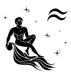 black silhouette of Aquarius are on white vector image