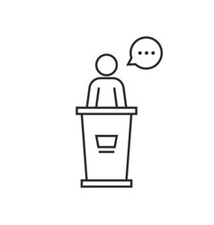 black thin line speaker podium vector image
