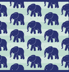 blue elephant seamless pattern vector image
