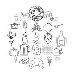 Caboose icons set outline style vector