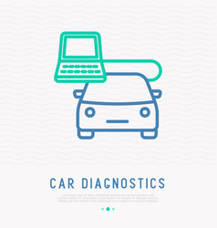 car diagnostics thin line icon vector image