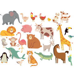 Cartoon animals cute elephant and lion giraffe vector