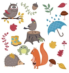 Cartoon characters and autumn elements vector image