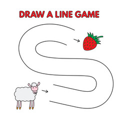 cartoon sheep draw a line game for kids vector image