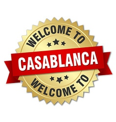 Casablanca 3d gold badge with red ribbon vector