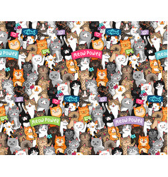 Cats parade pattern vector