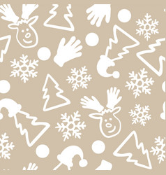 christmas doodle seamless pattern repeat vector image