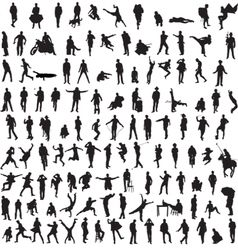 Collection silhouettes of men vector image