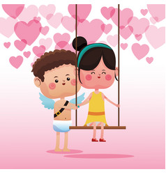 Cupid with cute girl on swing vector