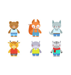 cute baanimals set bear fox wolf giraffe vector image