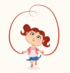 cute bagirl with jump rope vector image