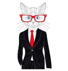 Cute cat boy in elegant classic suit with glasses vector