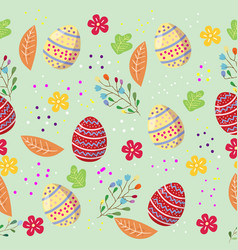 Cute easter eggs seamless pattern with coulerful vector