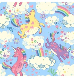 Cute seamless pattern with rainbow unicorns vector image