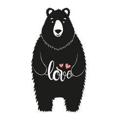 cute with bear holding a word love vector image