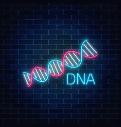 Dna sequence sign in neon style on dark brick wall vector