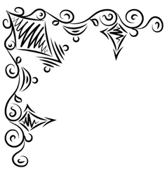 Doodle abstract handdrawn frame corner vector image