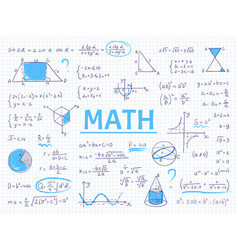 Doodle math algebra and geometry school equation vector