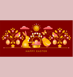 easter greeting card in unusual style vector image