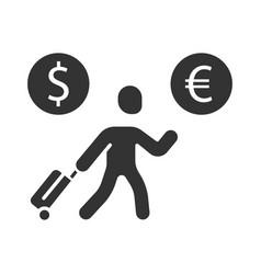 Economic migrant glyph icon person searching new vector