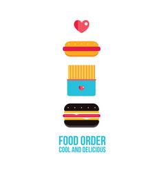 fast food icons set hamburger hot dog french fries vector image