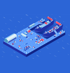 freight ships in harbor isometric vector image