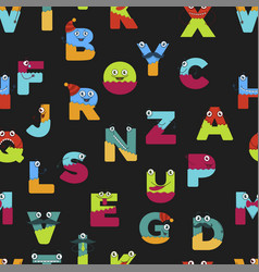 funny alphabet cartoon characters for kids vector image