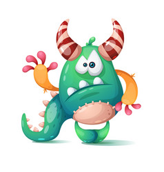 funny cute cartoon monster dino vector image