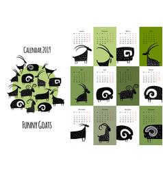funny goats calendar 2019 design vector image